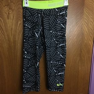 Nike Pro Athletic Capris with Neon Waist Band